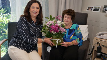 Premier Annastacia Palaszczuk kept her promise to visit her nanna, Beryl Erskine, on Sunday before visiting the acting governor at Government House to kick off the 2017 Queensland election.