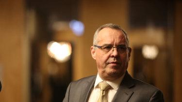 Mark Korda, partner of KordaMentha, photographed after the creditors meeting for Network Ten.