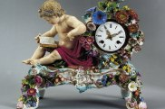 Highly decorated 19th century Meissen clock.