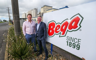 Bega CEO Paul van Heerwaarden and Bega Cheese chair Barry Irvin say the deal is a huge step forward for the company.