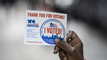 "Voters queuing in Chicago said they were worried about the ""chaos and confusion"" that President Donald Trump has created about mail-in voting and wanted to vote in person to make sure those votes were counted."