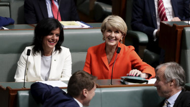 Liberal MPs Julia Banks and Julie Bishop in the House of Representatives on  Monday.