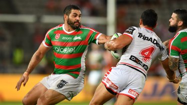 Out of form: Greg Inglis missed six tackles against the Dragons.