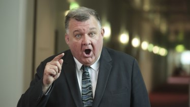 Craig Kelly during a doorstop interview at Parliament House on Wednesday.
