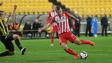 All square: City's Riley McGree shoots and scores to level proceedings against Phoenix.