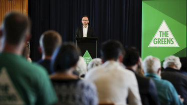 Greens MP Adam Bandt addresses the Australian Greens National Conference at Ainslie School in Canberra.