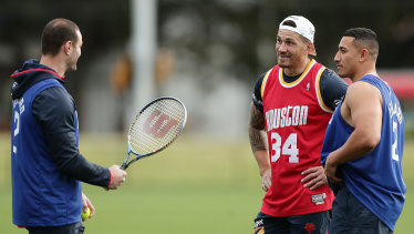 Serve it up ... Boyd Cordner with star recruit SBW and Sio Siua Tauekiaho.