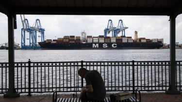 Show is the MSC Gayane container ship on the Delaware River in Philadelphia on Tuesday.