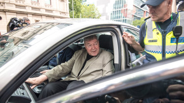 George Pell leaving the the County Court on Tuesday.