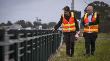 Roads Minister Jaala Pulford and Regional Roads Victoria safety director Scott Lawrence in Kalkallo to announce a roll-out of road safety upgrades across Victoria.