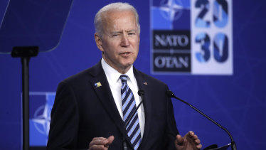 Us President Joe Biden speaks during a media conference during a NATO summit in Brussels.