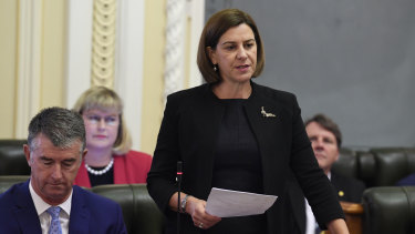 Queensland Opposition Leader Deb Frecklington speaks during question time on Wednesday.