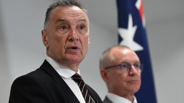 Former Labor minister Craig Emerson (left) and former South Australian premier Jay Weatherill at the release last week of their highly critical review of Labor's federal election campaign.