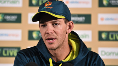 Tim Paine on media duties.