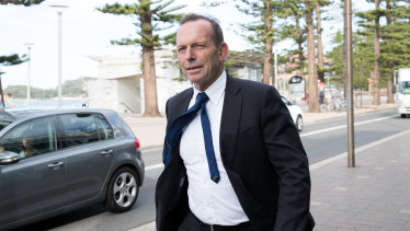 Former PM Tony Abbott at Manly Beach in his former electorate of Warringah during the election campaign.