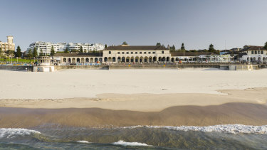 An empty Bondi Beach on April 5.