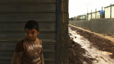 Ahmed, 4, who has not spoken since leaving Syria because of the trauma, in Basirma camp.