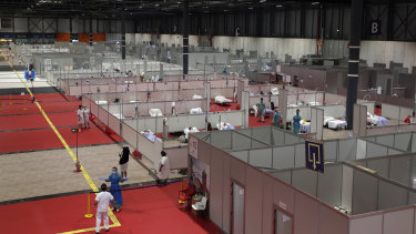 A temporary hospital set up at an exhibition centre in Madrid, Spain.