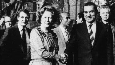 February, 3, 1982: British Prime Minister Margaret Thatcher with Hosni Mubarak outside her home at Chequers, England.