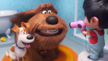 Max the terrier (voiced by Patton Oswalt), Duke (Eric Stonestreet) and Liam (Henry Lynch) in The Secret Life of Pets 2.