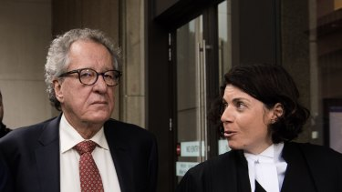 Sue Chrysanthou, SC, with actor Geoffrey Rush during his Federal Court defamation case last year.