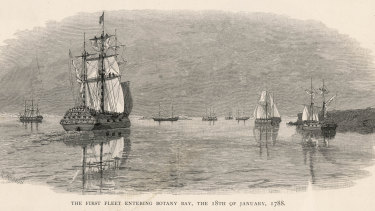 The first fleet enters Botany Bay, 18 January 1788 .