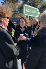 "Georgina Downer at a ""listening post"" in Goolwa, in the Mayo electorate."