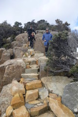 Descending from 'The Blade' (262 metres above sea level) on the Three Capes Walk. Much of the construction used Tasmanian know-how.