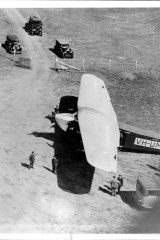 An aerial view of the Southern Sun, one of the planes used to search for the Southern Cloud at Essendon Aerodrome.