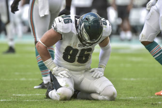 Philadelphia's Zach Ertz reacts after dropping a pass in the third quarter against the Miami Dolphins.