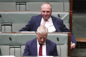 Some Nationals fear the reshuffle will drive out those loyal to former leader Michael McCormack (front) despite Barnaby Joyce's promise to try to unite the party after the leadership spill.