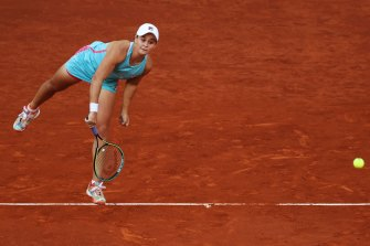 Ash Barty on serve in Madrid.