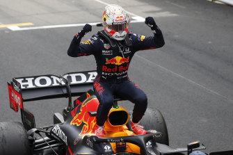 Red Bull's Max Verstappen celebrates after winning the Monaco Grand Prix on Sunday.