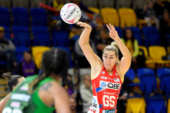 Fever pitch: Sophie Garbin's 28 shots from 32 attempts over two quarters were crucial in the Swifts' second-half revival.