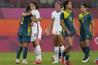 All tied: The Matildas and Americans settled for a 0-0 draw.