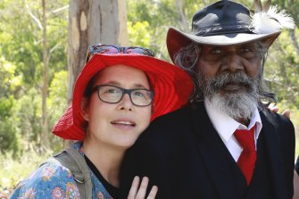 Director Molly Reynolds with David Gulpilil while making My Name Is Gulpilil.