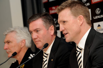 Eddie McGuire with Nathan Buckley in 2009. McGuire orchestrated the succession plan from Mick Malthouse (far left) to Buckley.