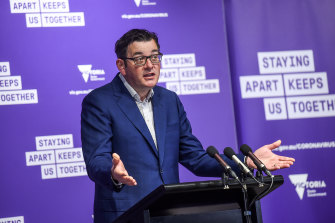 Victorian Premier Daniel Andrews speaking to the media on Monday.