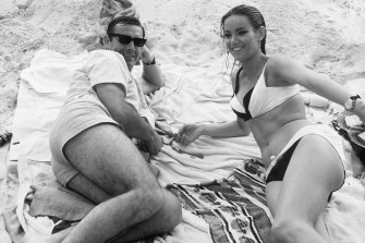 Parisienne actress Claudine Auger with Sean Connery in Thunderball, 1965.