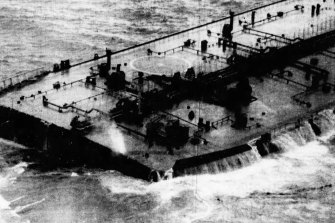 The damaged oil tanker, with the front of its bow missing, off the coast of Western Australia.