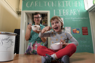 Cassandra Hogan and her five-year-old daughter Trixie enjoy the fruits of their labour: home-made ice cream