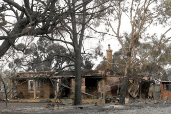 A home at Woodside in the Adelaide Hills that was destroyed in a bushfire this month.