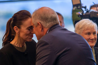 Australia's Prime Minister Scott Morrison and New Zealand PM Jacinda Ardern greet each other in the traditional Maori greeting ahead of the annual Australia-New Zealand leaders' meeting in Queenstown.