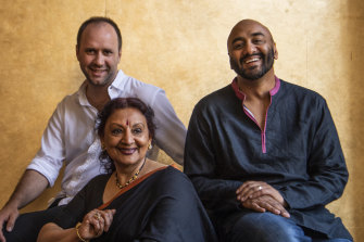 Belvoir artistic director Eamon Flack with collaborator Shakthi and Lingalayam dance director Anandavalli (centre).