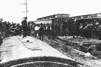 The first photograph ever published in The Age shows the collision between the two train at Braybrook.