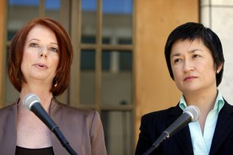 Acting Prime Minister Julia Gillard and Minister for Climate Change Penny Wong hold a press conference after the Emissions Trading Scheme bill gets defeated in the Senate chamber at Parliament House in Canberra on Wednesday, of December 2, 2009.