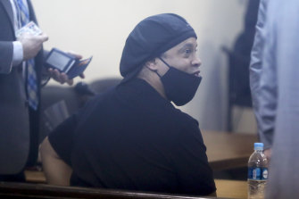 Ronaldinho in court on Monday, when he was released from house arrest.