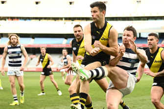 Richmond's Trent Cotchin in the thick of things.