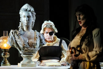 Anne-Louise Cole as The Fiancee and Dominica Matthews as The Mummy.