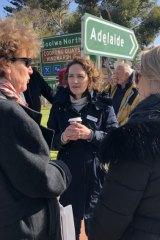 "Georgina Downer ata ""listening post"" in Goolwa, in the Mayo electorate."